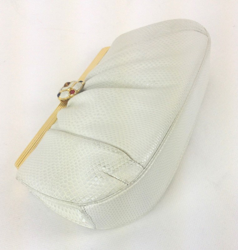 JUDITH LEIBER WHITE LIZARD CLUTCH