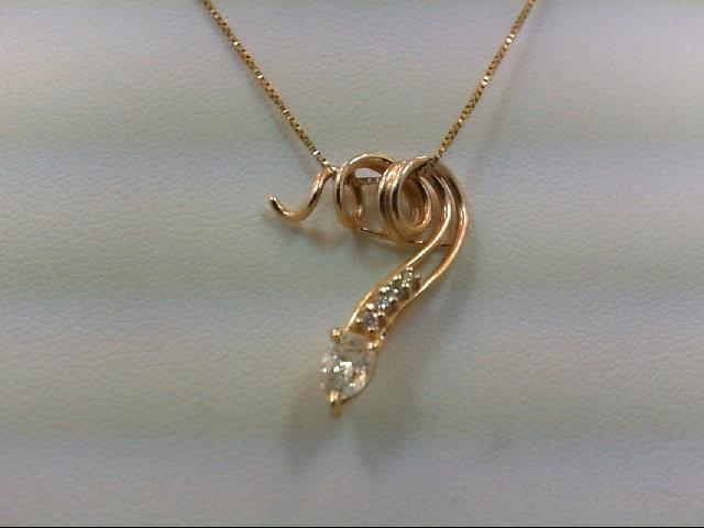 Gold-Multi-Diamond Pendant 5 Diamonds 0.42 Carat T.W. 14K Yellow Gold 2.8g