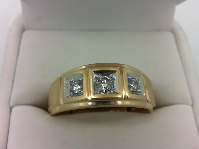 Gent's Gold-Diamond Wedding Band 3 Diamonds 0.33 Carat T.W. 14K Yellow Gold 6.9g