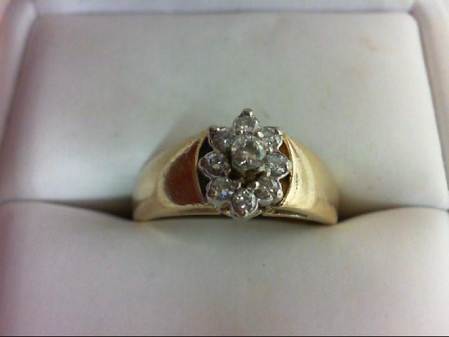 Lady's Diamond Cluster Ring 9 Diamonds 0.24 Carat T.W. 14K Yellow Gold 4.6g Size