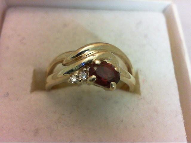 Almandite Garnet Lady's Stone & Diamond Ring 2 Diamonds 0.02 Carat T.W. 14K Yell