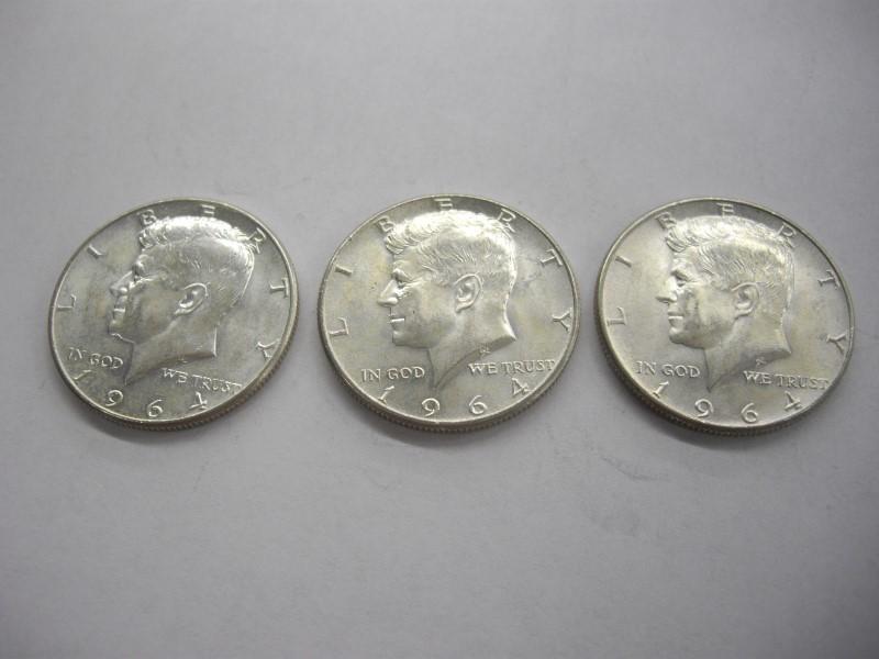 1964 HALF DOLLAR LOT 3PC