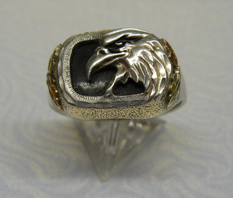 Black Stone Gent's Silver & Stone Ring 925 Silver 5.58dwt Size:11
