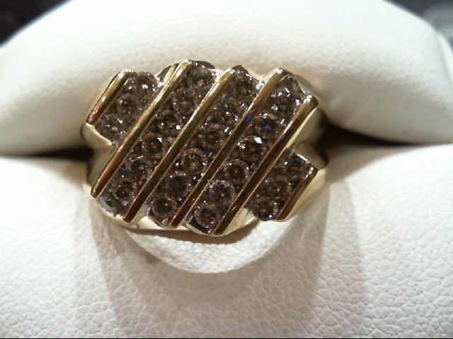 Gent's Diamond Cluster Ring 30 Diamonds 1.50 Carat T.W. 10K Yellow Gold 5.7g