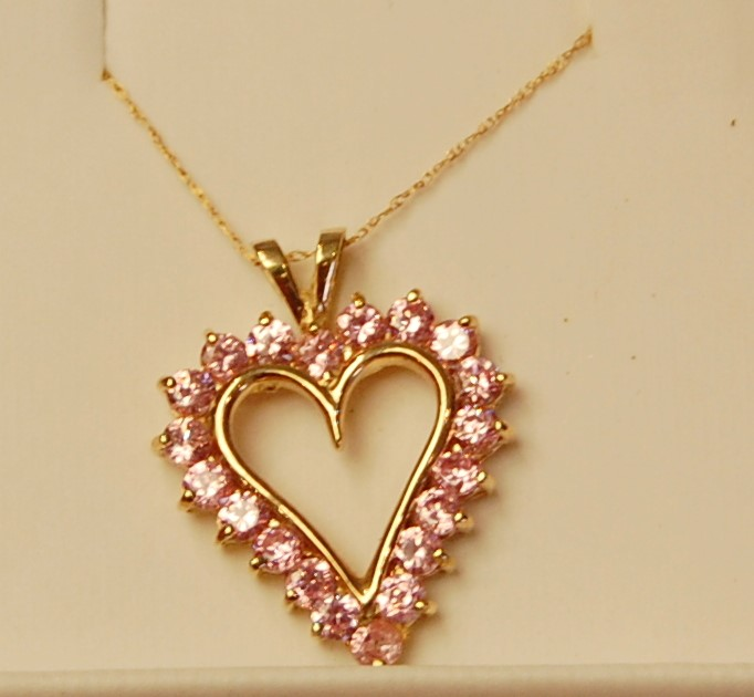Pink Stone Stone Necklace 14K Yellow Gold 4.4g