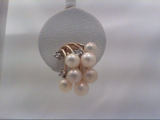 Pearl Gold-Diamond & Stone Earrings 6 Diamonds .06 Carat T.W. 14K Yellow Gold