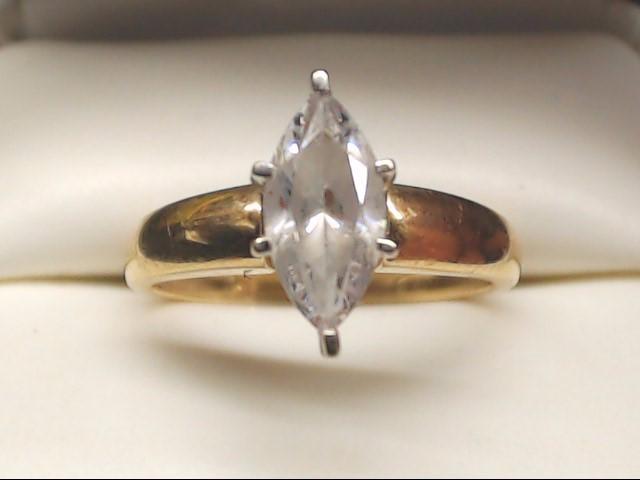 White Stone Lady's Stone Ring 14K Yellow Gold 2.9g Size:7