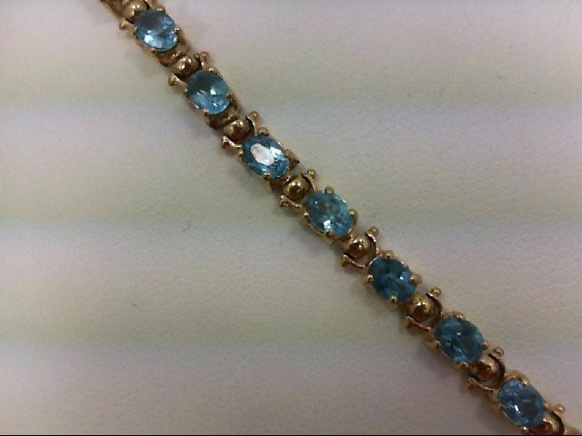 Blue Topaz Gold-Stone Bracelet 10K Yellow Gold 7.6g