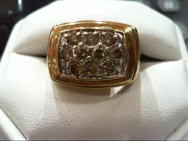 Gent's Diamond Cluster Ring 10 Diamonds 1.54 Carat T.W. 14K Yellow Gold 12.1g