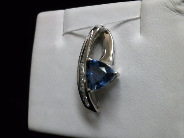 Synthetic Sapphire Gold-Diamond & Stone Pendant 7 Diamonds .14 Carat T.W.