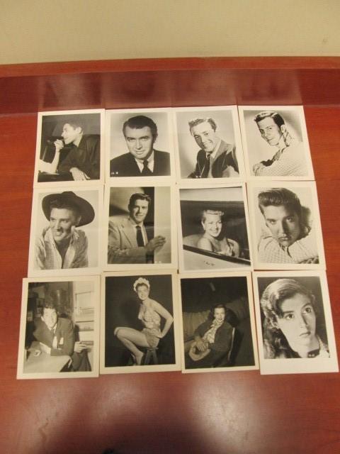 28 VINTAGE CELEBRITY 3.5 X 5 BLACK AND WHITE PHOTOS.  INCLUDES DEAN MARTIN, BOB