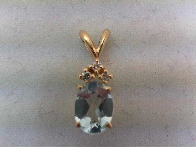 Gold-Multi-Diamond Pendant 3 Diamonds .09 Carat T.W. 10K Yellow Gold 1g