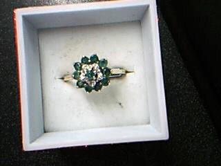 Emerald Lady's Stone & Diamond Ring 5 Diamonds .05 Carat T.W. 10K Yellow Gold