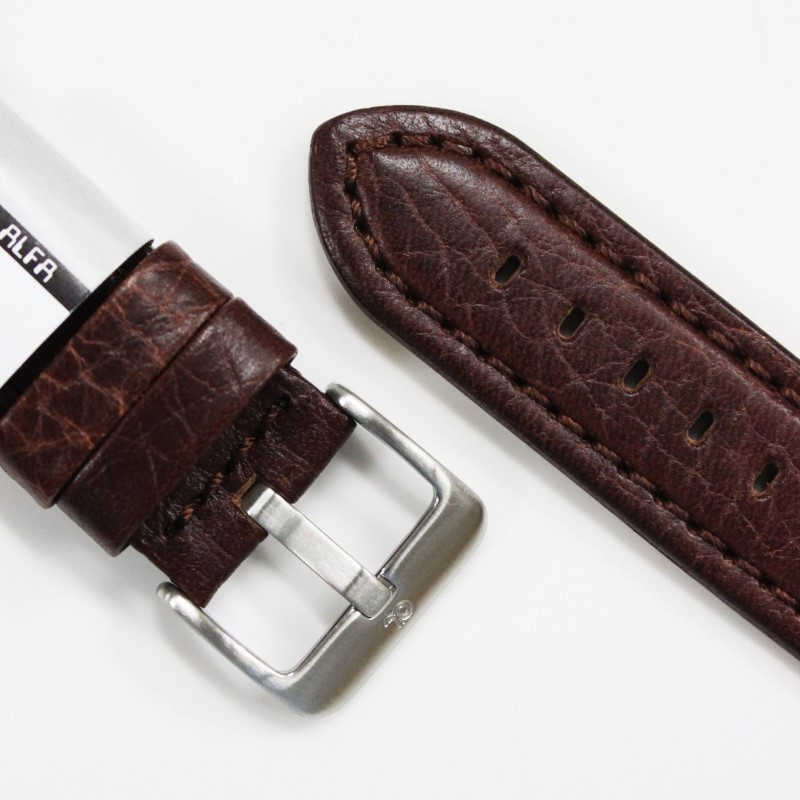 ALFA USA 18MM WATCH STRAP PADDED LEATHER, BROWN