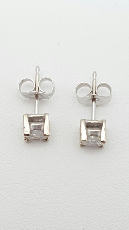 Gold-Diamond Earrings 2 Diamonds .54 Carat T.W. 14K White Gold 1g