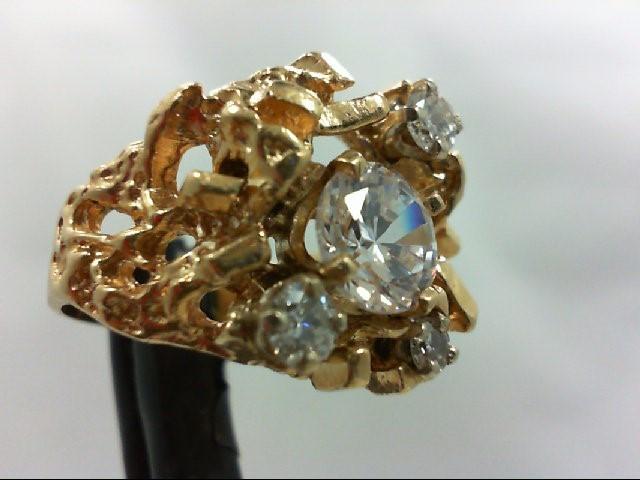 Cubic Zirconia Gent's Stone & Diamond Ring 3 Diamonds 0.3 Carat T.W. 14K Yellow