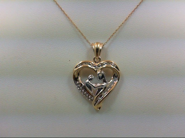 Gold-Multi-Diamond Pendant 19 Diamonds 0.19 Carat T.W. 10K 2 Tone Gold 3.2g
