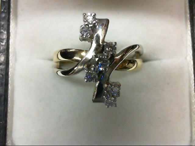 Lady's Diamond Cluster Ring 7 Diamonds .25 Carat T.W. 14K 2 Tone Gold 4.9g