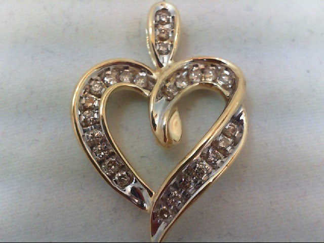 Gold-Multi-Diamond Pendant 25 Diamonds .50 Carat T.W. 10K 2 Tone Gold 3.2g