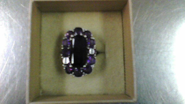 Purple Stone Lady's Silver & Stone Ring 925 Silver 7.8g