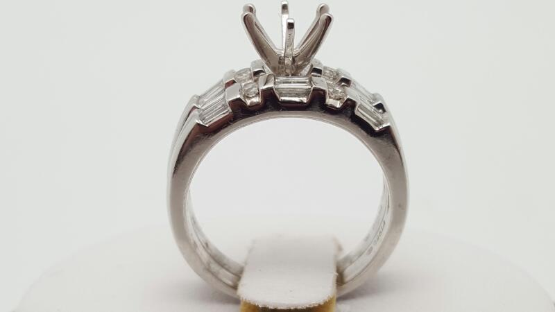 Platinum-Diamond Wedding Set 14 Diamonds .52 Carat T.W. 950 Platinum 13g