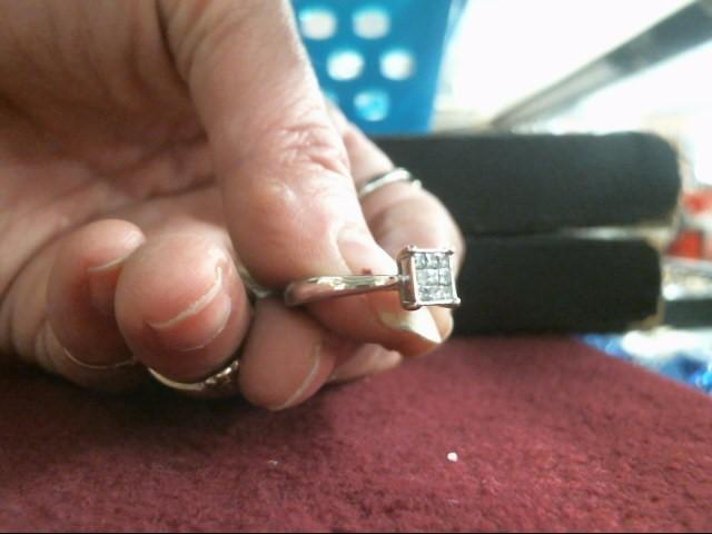 Lady's Diamond Cluster Ring 9 Diamonds .45 Carat T.W. 10K White Gold 2.4dwt