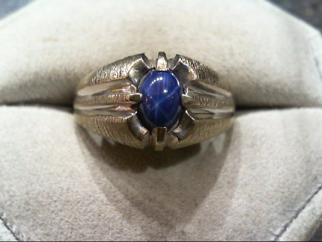 Synthetic Star Sapphire Gent's Stone Ring 10K White Gold 5.3g