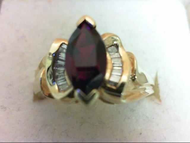 Ruby Lady's Stone & Diamond Ring 14 Diamonds .70 Carat T.W. 10K Yellow Gold