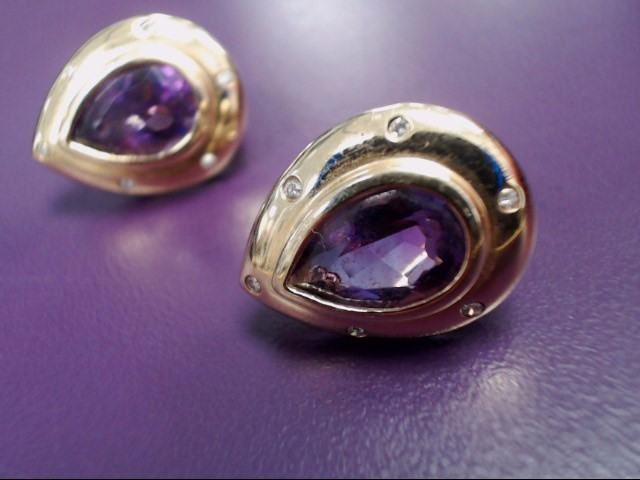 Amethyst Gold-Stone Earrings 14K Yellow Gold 7.1g