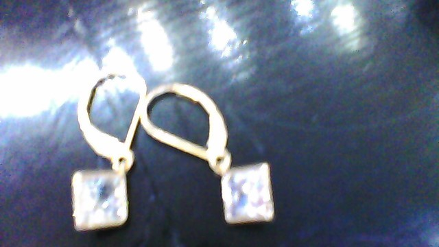Synthetic Cubic Zirconia Gold-Stone Earrings 14K Yellow Gold 1.8g