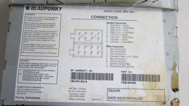 BLAUPUNKT Car Audio RPC 430