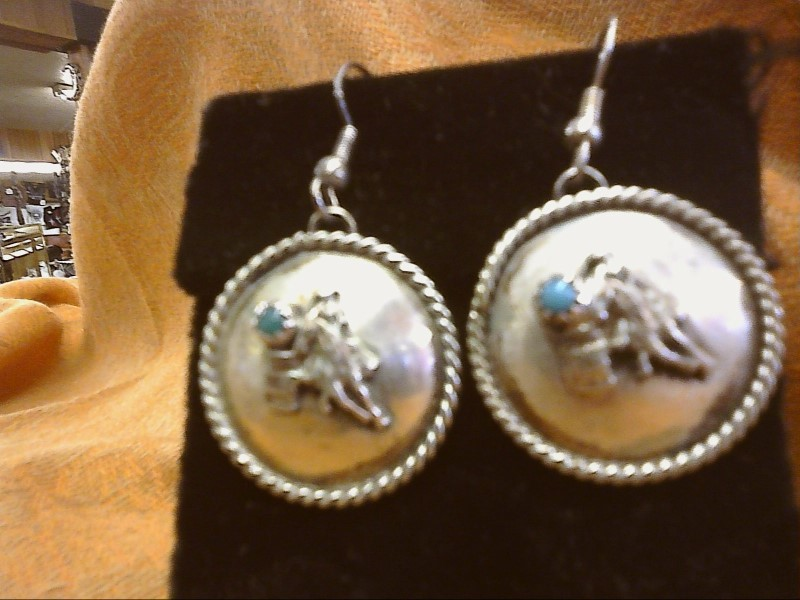 Synthetic Turquoise Silver-Stone Earrings 925 Silver 5.1dwt