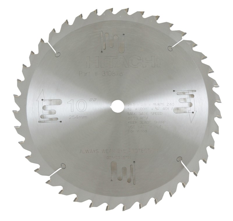 "HITACHI 10"" THIN KERF MITER SAW BLADE 40 TOOTH"