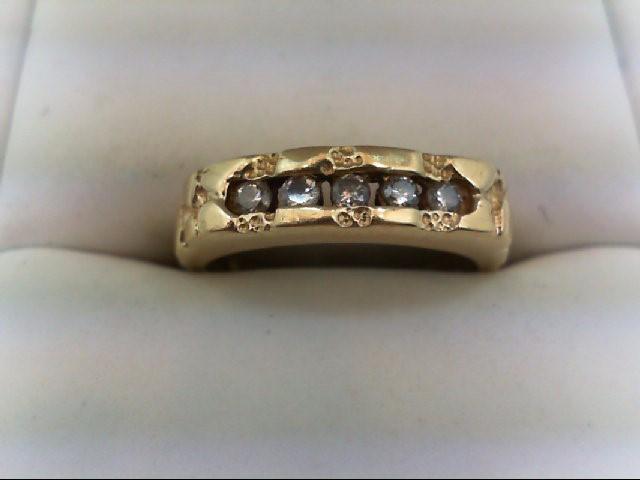 Gent's Gold-Diamond Wedding Band 5 Diamonds 0.3 Carat T.W. 14K Yellow Gold 4.3g