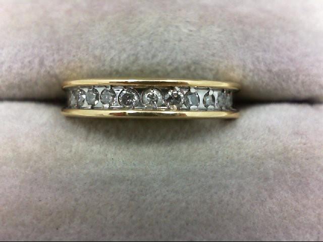 Lady's Diamond Wedding Band 11 Diamonds 0.22 Carat T.W. 14K Yellow Gold 2.6g Siz