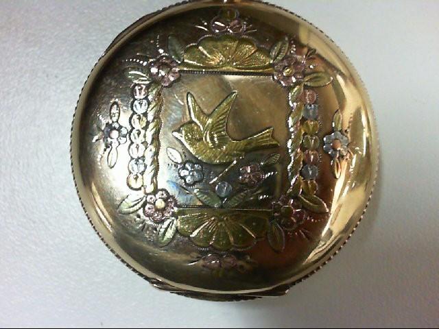 ELGIN HUNTER POCKET WATCH 14K TriColor Gold