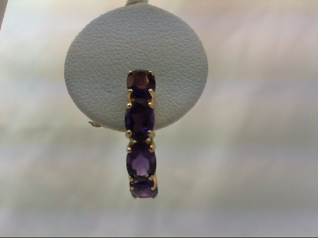 Amethyst Gold-Stone Earrings 10K Yellow Gold 2.1g