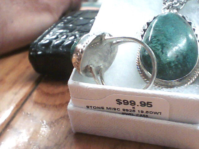 Green Stone Silver-Stone Misc. 925 Silver 19.5dwt