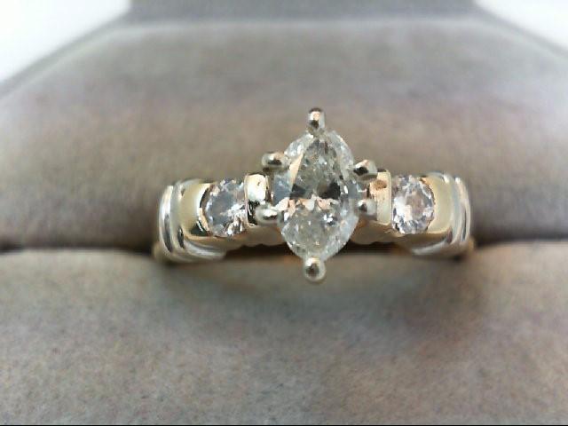 Lady's Diamond Engagement Ring 3 Diamonds .74 Carat T.W. 14K 2 Tone Gold 5.03g