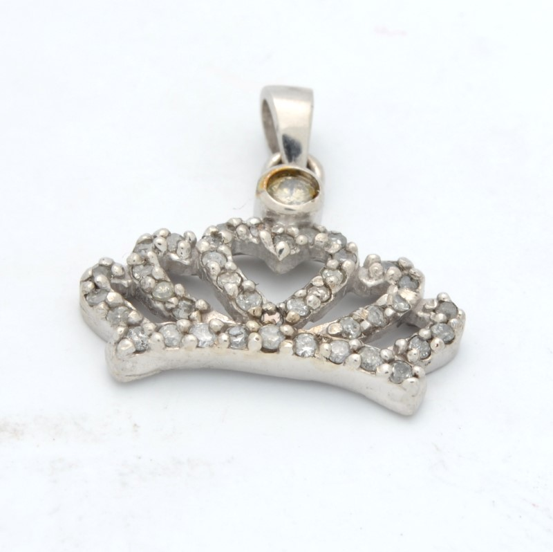 ESTATE DIAMOND CROWN PENDANT CHARM SOLID 10K WHITE GOLD HEART ROYAL