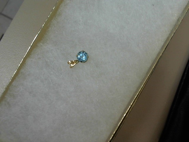 Synthetic Blue Topaz Gold-Stone Pendant 10K Yellow Gold 0.01dwt