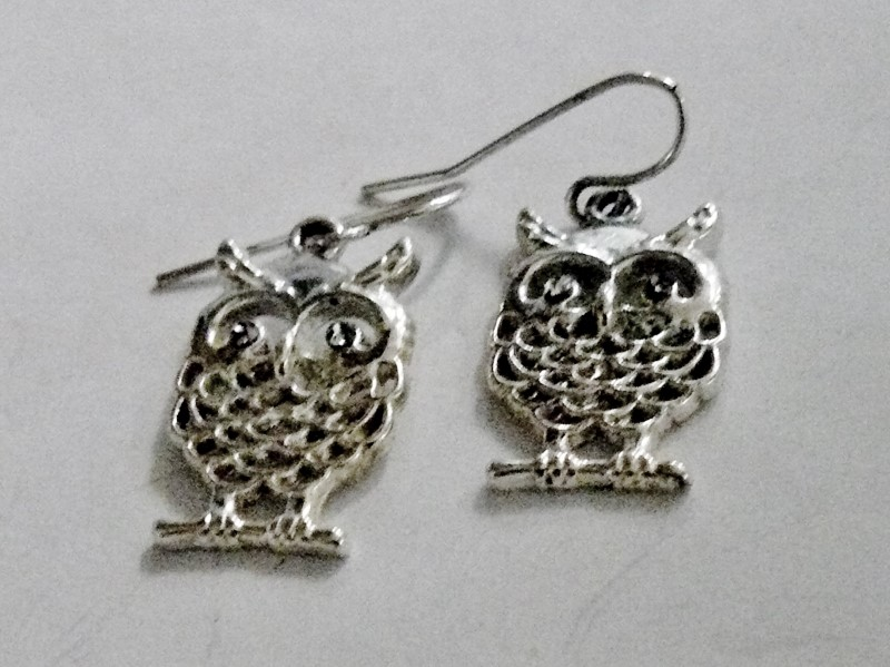 Silver Cut-Out Owl with Jeweled Eyes Earrings 925 Silver 2.1dwt