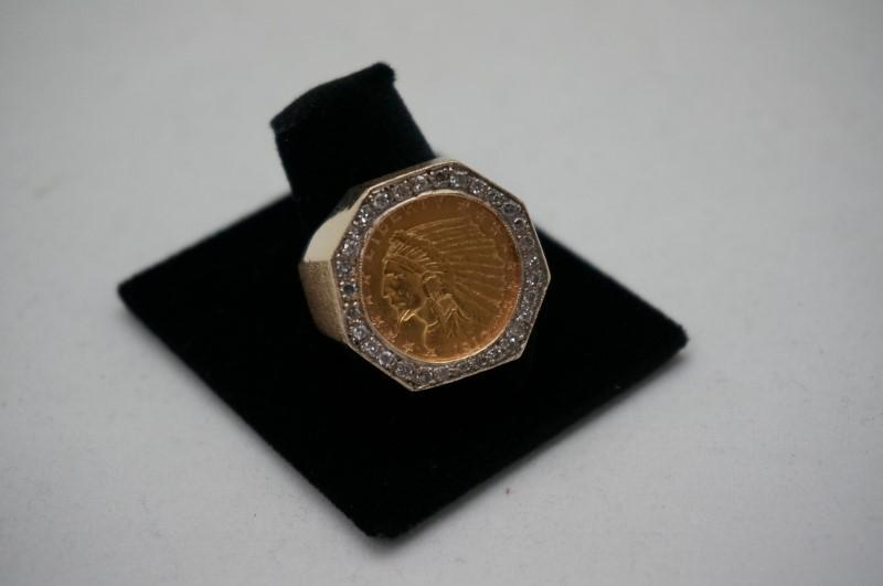 Gent's Diamond Cluster Ring 28 Diamonds .56 Carat T.W. 14K Yellow Gold 11.7dwt