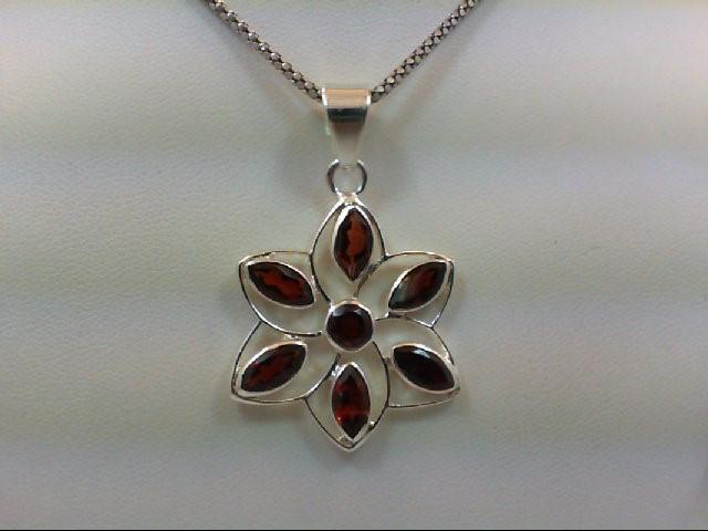 Almandite Garnet Silver-Stone Pendant 925 Silver 8.2g