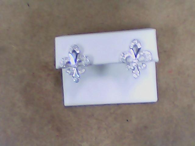 White Stone Silver-Stone Earrings 925 Silver 3.8g
