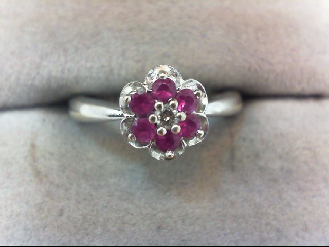 Ruby Lady's Stone & Diamond Ring .04 CT. 14K White Gold 3.8g