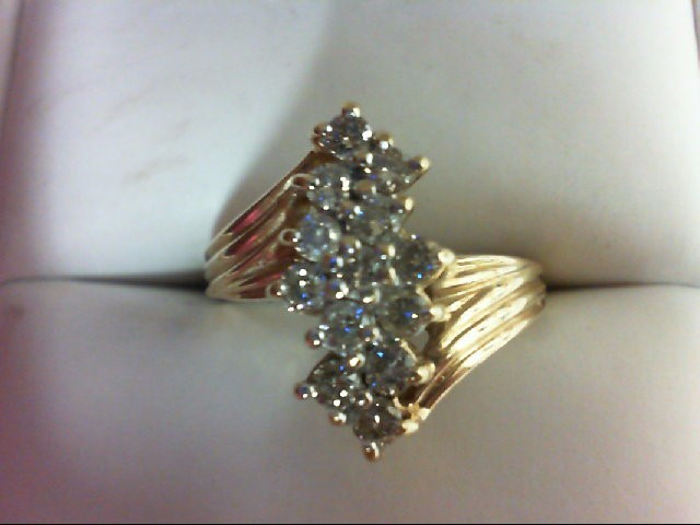 Lady's Diamond Cluster Ring 13 Diamonds 0.65 Carat T.W. 10K Yellow Gold 3.8g