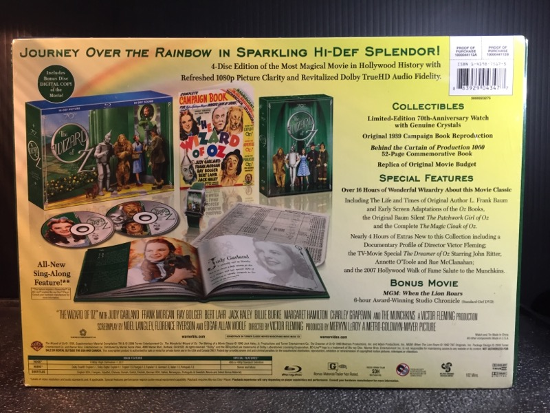 THE WIZARD OF OZ LTD EDTN, 70TH ANNIVERSARY, BLU-RAY SET W/COLLECTIBLES