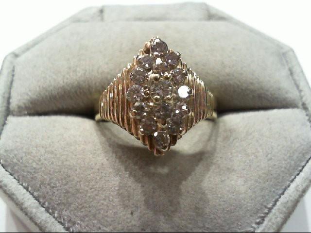 Lady's Diamond Cluster Ring 13 Diamonds .69 Carat T.W. 14K Yellow Gold 5.3g