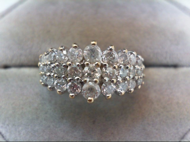 Lady's Diamond Cluster Ring 33 Diamonds 1.40 Carat T.W. 14K Yellow Gold 4.3g
